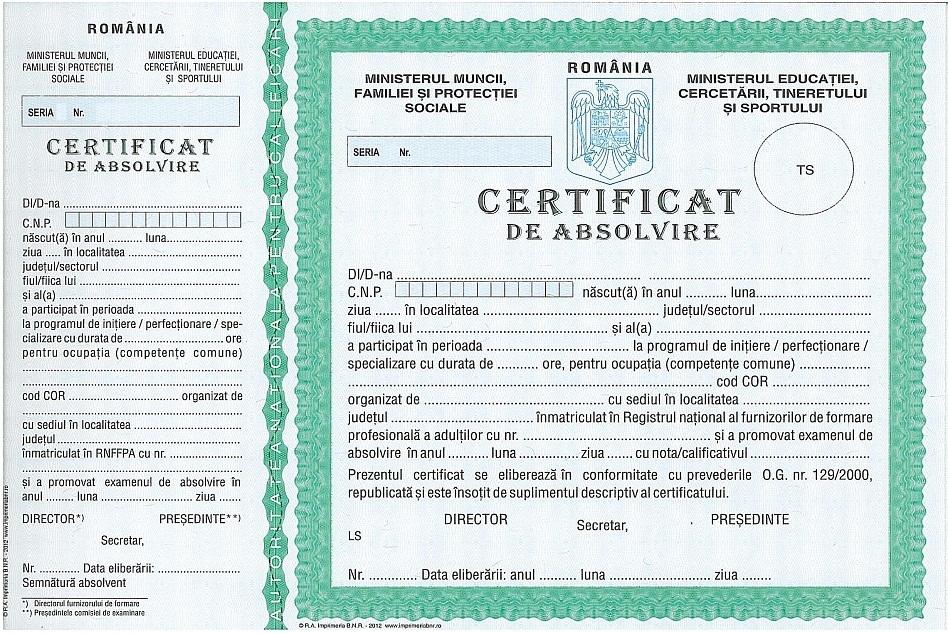 Certificat de Absolvire curs ANC